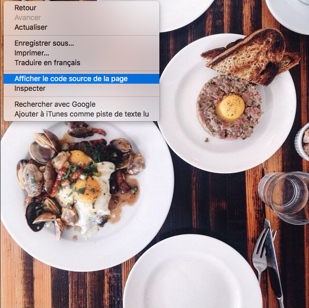 Instagram restaurant Lawrence code source de la page